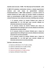 Questão sobre Concreto - FURB Pref Municipal de Porto Belo-SC 2019