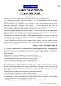 Modelos Atômicos - lista de exercícios 1 (Prof Brasil)