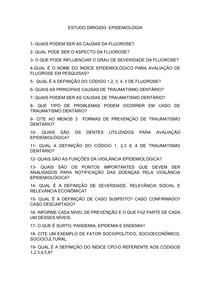 ESTUDO DIRIGIDO- Epidemiologia Fluorose