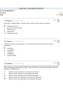 SIMULADO 1 AUDITORIA DE SISTEMAS