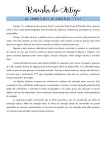 Resenha do Artigo - OS COMBUSTÍVEIS DO EXERCÍCIO FÍSICO