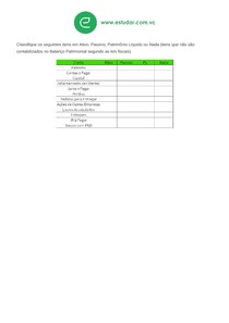 Exercício 10: Classificação de Contas