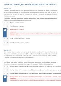 02517e629be NOTA 100 - AVALIAÇÃO – PROVA REGULAR OBJETIVA DIDÁTICA - Didát