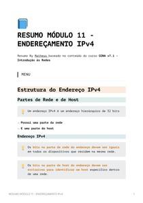 Resumo Módulo 11 - Endereçamento IPv4 - CCNA v7_1 - Introdução às Redes
