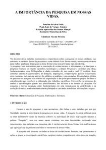 seminario interdisciplinar I INTRODUÇÃO À PESQUISA