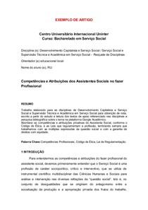 As Competências Profissionais e Atribuições dos Assistente Sociais