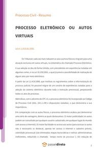 Processo eletrônico ou autos virtuais - Resumo
