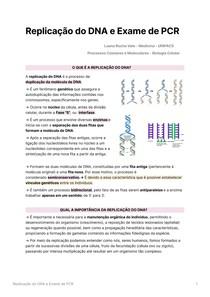Replicação do DNA e Exame de PCR