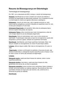 Resumo de Biossegurança em Odontologia