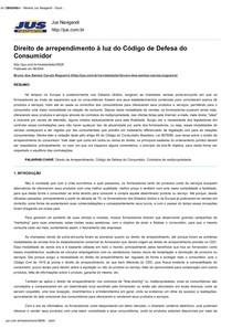 TEXTO IV - Direito de arrependimento à luz do Código de Defesa do Consumidor - Revista Jus Navigandi - Doutrina e Peças