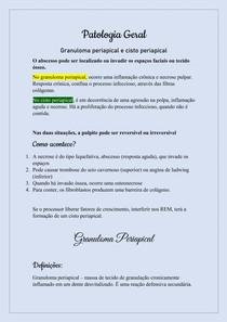 Patologia Bucal - Granuloma e cisto