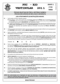 PUC RJ 2011 - prova Ciências da Natureza (questões objetivas)