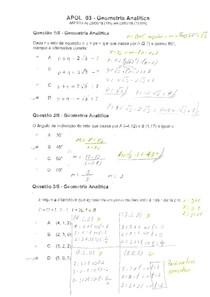 (Exercícios Resolvidos [nota 100]) APOL 3   Geometria Analítica   UNINTER   Eng. Produção, Elétrica ,Computação.     Deixa o Gostei