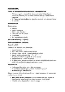 PRÓTESE TOTAL - Planos de Orientação Superior e Inferior / Bases de Prova