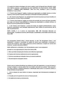 QUESTÕES OBJETIVAS DE GESTÃO DE CARREIRAS