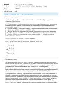 AVALIAÇÃO REPOSIÇÃO CULTURA POPULAR BRASILEIRA