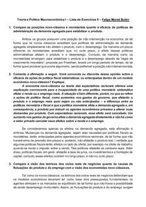 Teoria e Política Macroeconômica I Lista de Exercícios 8 Felipe Moreti Bolini