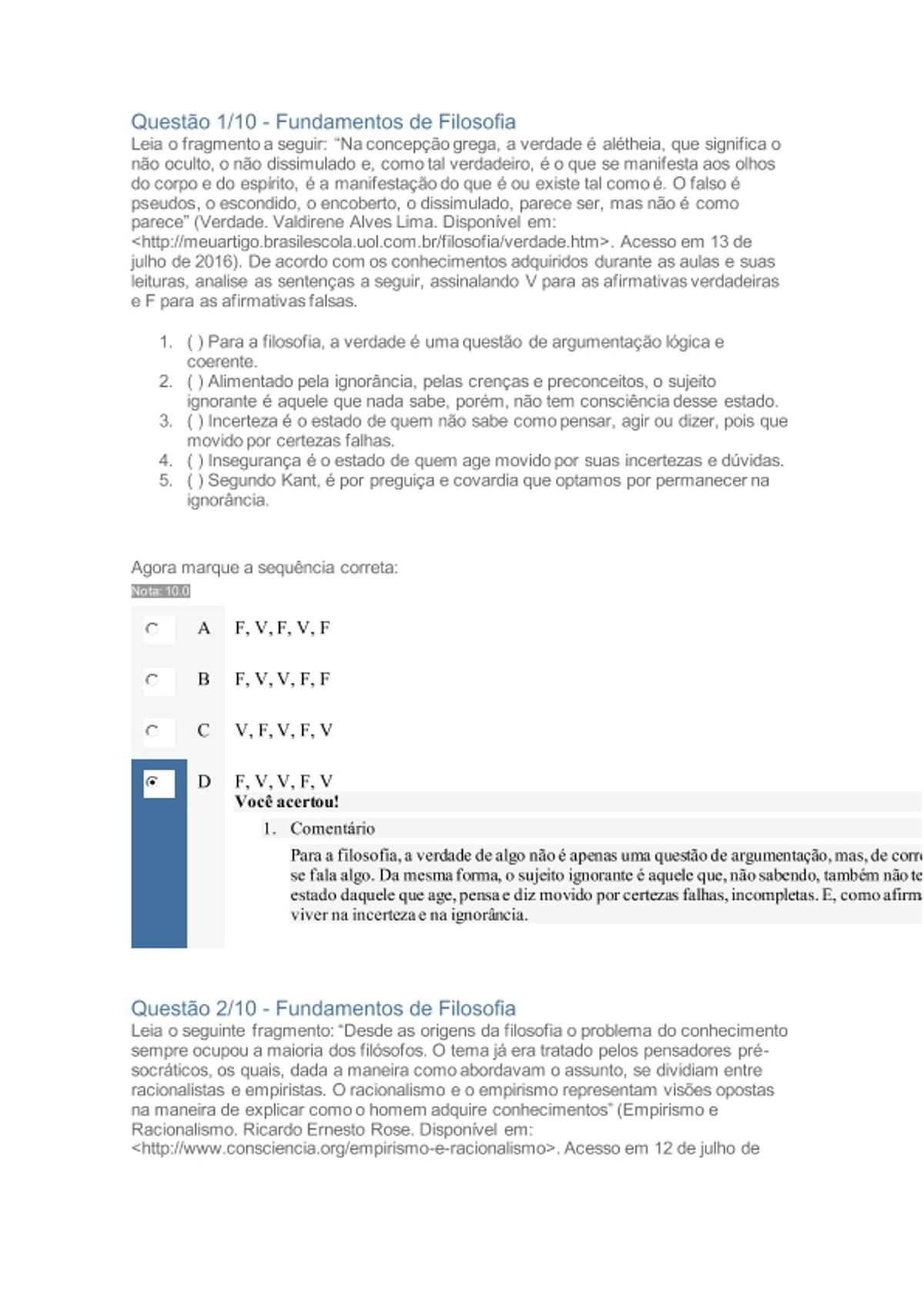 Pre-visualização do material Apol Fundamentos de Filosofia - página 1