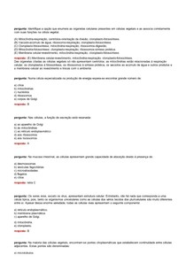 145 Questões sobre organelas (a partir de ribossomos)