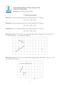1a lista vetores e geometria analítica