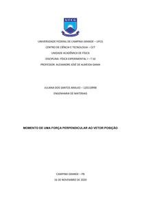 Relatório VI - Momento de uma força perpendicular ao vetor posição