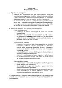 Preparo de Lâminas - Patologia Oral
