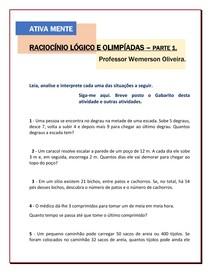 Raciocínio Lógico e Olimpíadas de Matemática - Patte 1