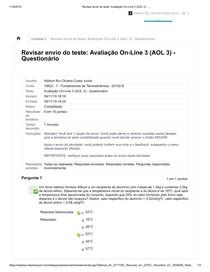 Fundamentos de termodinâmica teste_ Avaliação On-Line 3 (AOL 3) - _