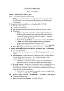 Direito Constitucional III - Política Constitucional Urbana e rural