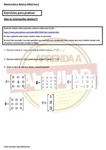 Exercícios básicos de matemática - Tipos e Formação de matrizes #EXCLUSIVOPD