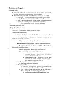 Material de Apoio 02 - Modalidade das Obrigações [Obrigação de Dar Coisa - Certa e Incerta]