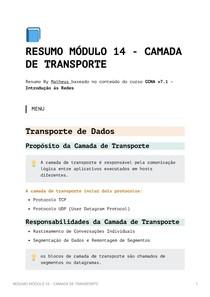 Resumo Módulo 14 - CAMADA DE TRANSPORTE - CCNA v7_1 - Introdução às Redes