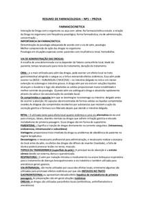 RESUMAO DE FARMACOLOGIA NP1 - PROVA