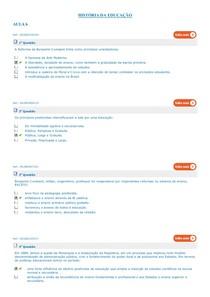 SIMULADOS HISTORIA  DA EDUCAÇÃO  AULAS 6 A 10