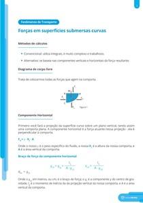 Forças em superfícies submersas curvas - Resumo