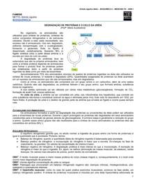 MED RESUMOS - Degradação de Proteínas e o Ciclo da Uréia