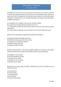 Lista de exercícios - Eletroquímica - Questões de vestibulares (com gabarito)