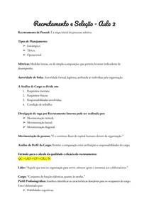 Recrutamento e Seleção - Aula 2