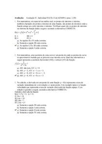 AVALIAÇÃO II CALCULO DIFERENCIAL