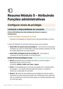 Resumo Módulo 5 - Atribuindo Funções administrativas - Segurança de Rede CISCO