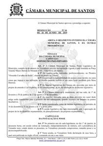 REGIMENTO INTERNO DA CÂMARA DE SANTOS