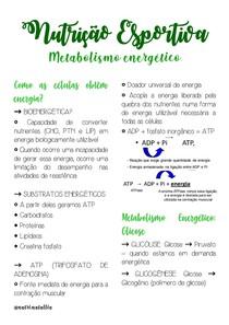 Metabolismo energético (vias de formação de ATP, atp cp, glicólise, via oxidativa) metabolismo de macronutrientes e fisiologia do exercício