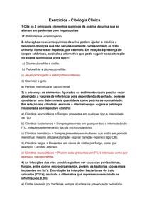 Lista de exercícios - Citologia Clínica (COM RESPOSTAS)