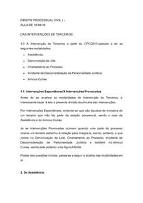 DIREITO PROCESSUAL CIVIL I AULA DE 19-08-16