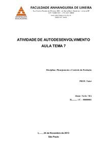 Atividade Autodesenvolvimento AVA PCP AulaTema07