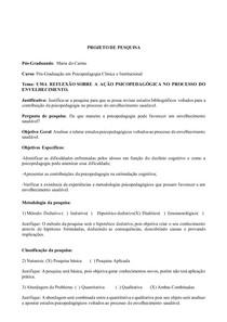 Pré-projeto Pós-Graduação em Psicopedagogia Clinica e Institucional
