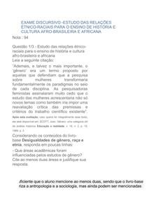 exame de ESTUDO DAS RELAÇÕES ÉTNICO RACIAIS PARA O ENSINO DE HISTÓRIA E CULTURA AFRO BRASILEIRA E AFRICANA