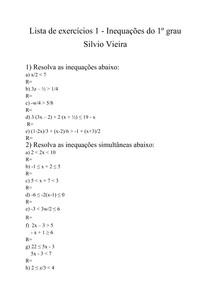 Lista de exercícios 1 - Inequação do primeiro grau - Silvio Vieira