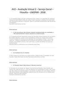 AV2 – Avaliação Virtual 2 -  Serviço Social - Filosofia - 2018 - UNOPAR