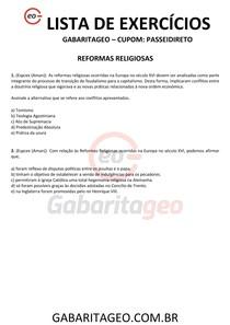 EXERCÍCIOS RESOLVIDOS REFORMAS RELIGIOSAS - 01